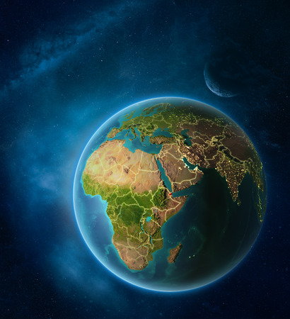 Planet Earth with highlighted Djibouti in space with Moon and Milky Way. Visible city lights and country borders. 3D illustration.