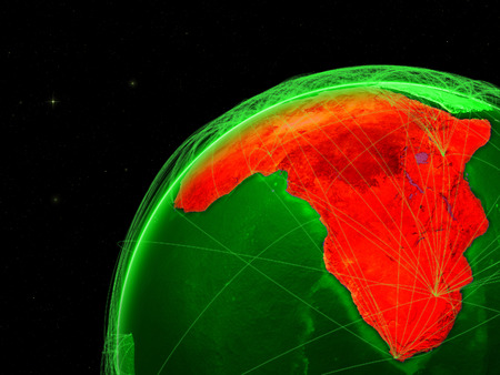 Africa on green Earth with network representing intercontinental connections. 3D illustration. Stock Photo