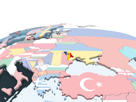 Moldova on bright political globe with embedded flag. 3D illustration.