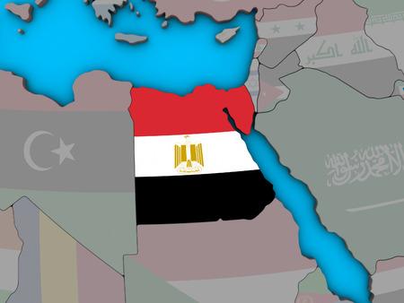 Egypt with embedded national flag on blue political 3D globe. 3D illustration. Stock Photo