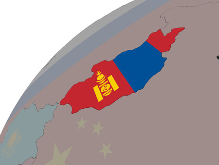 Mongolia with national flag on 3D globe. 3D illustration.
