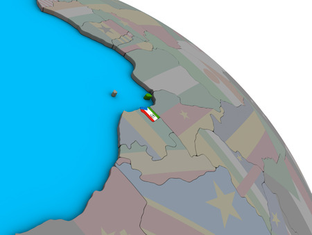 Equatorial Guinea with embedded national flag on simple blue political 3D globe. 3D illustration.