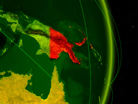 Papua New Guinea on digital planet Earth with network. Concept of connectivity, travel and communication. 3D illustration.