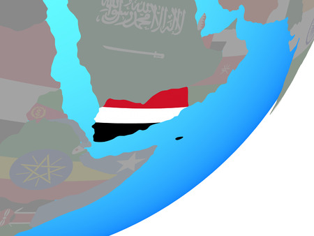 Yemen with embedded national flag on blue political globe. 3D illustration. Stock Photo