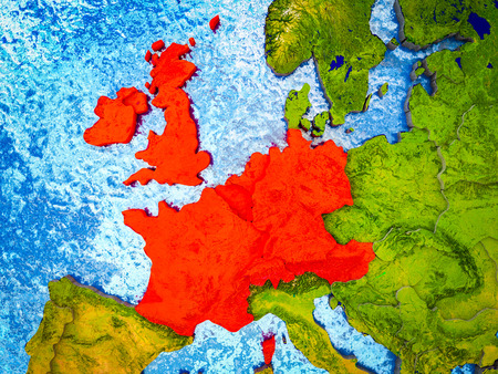 Western Europe on model of 3D Earth with blue oceans and divided countries. 3D illustration. Stok Fotoğraf - 111515485