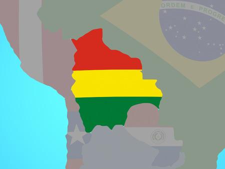 Bolivia with national flag on blue political globe. 3D illustration.