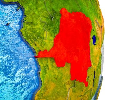 Dem Rep of Congo on 3D model of Earth with divided countries and blue oceans. 3D illustration. Banco de Imagens