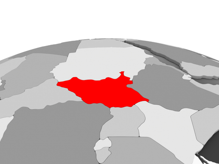 South Sudan in red on grey model of political globe with transparent oceans. 3D illustration.