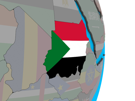 Sudan with embedded national flag on simple political 3D globe. 3D illustration.