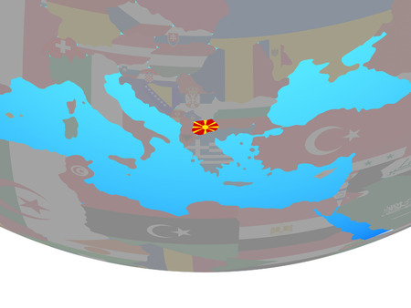 Macedonia with national flag on simple political globe. 3D illustration. Stockfoto