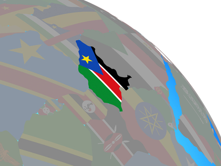 South Sudan with national flag on simple blue political globe. 3D illustration. 스톡 콘텐츠 - 111505635