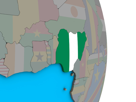 Nigeria with embedded national flag on simple political 3D globe. 3D illustration.