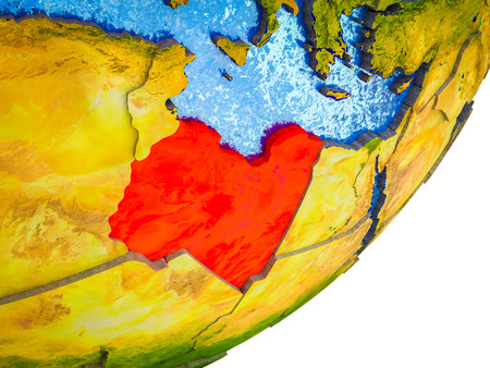 Libya on 3D model of Earth with water and divided countries. 3D illustration. Stock Photo