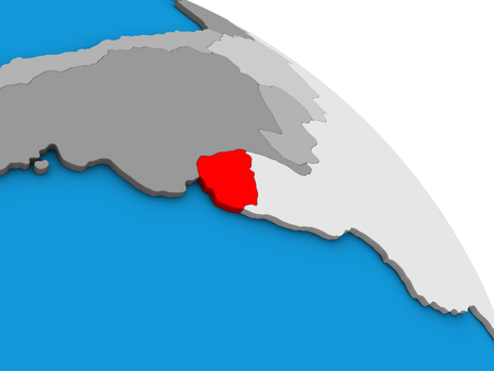 Uruguay on simple blue political 3D globe. 3D illustration.