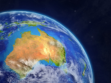 Australia from space. Planet Earth with extremely high detail of planet surface and clouds. 3D illustration. 版權商用圖片
