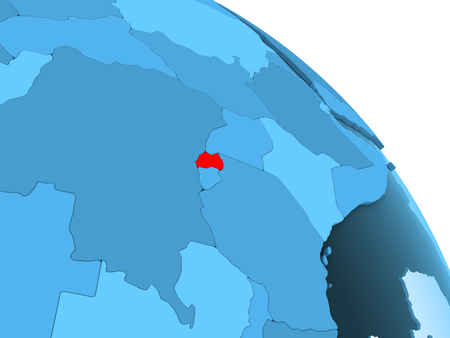 Rwanda highlighted on blue 3D model of political globe with transparent oceans. 3D illustration.