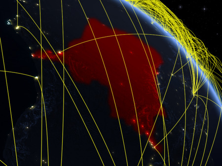 Dem Rep of Congo from space on model of planet Earth at night with network. Concept of digital technology, connectivity and travel. 3D illustration. Banco de Imagens