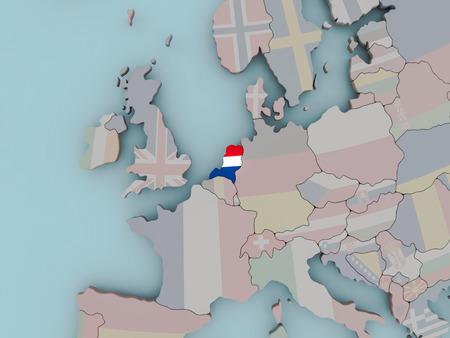 Netherlands with national flag on political globe. 3D illustration.