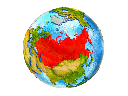 Former Soviet Union on 3D model of Earth with country borders and water in oceans. 3D illustration isolated on white background. Stock Photo