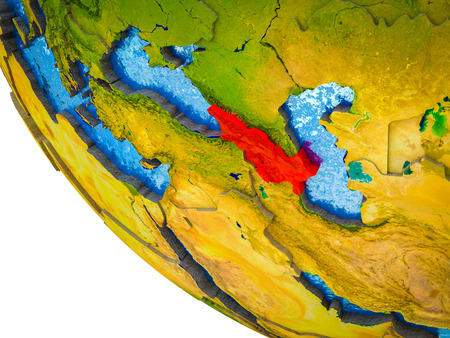 Caucasus region on model of Earth with country borders and blue oceans with waves. 3D illustration. Reklamní fotografie