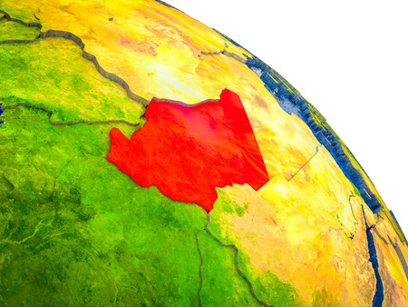 Chad Highlighted on 3D Earth model with water and visible country borders. 3D illustration.
