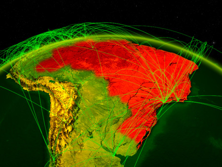 Brazil on digital planet Earth with international network representing communication, travel and connections. 3D illustration. Stock Photo