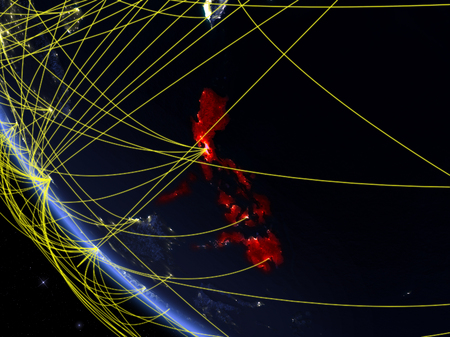 Philippines on planet Earth from space at night with network. Concept of international communication, technology and travel. 3D illustration.