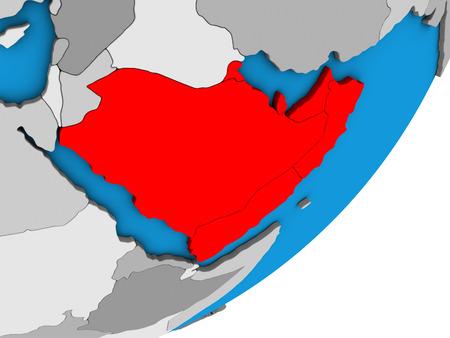 Arabia on blue political 3D globe. 3D illustration. 스톡 콘텐츠