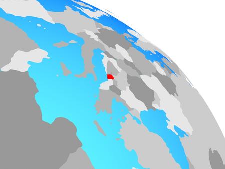 Montenegro on simple blue political globe. 3D illustration.