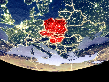 Satellite view of Visegrad Group from space at night. Beautifully detailed plastic planet surface with visible city lights. 3D illustration.