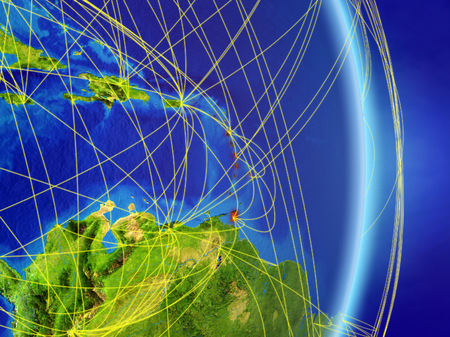 Caribbean on planet planet Earth with network. Concept of connectivity, travel and communication. 3D illustration.