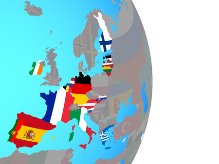 Eurozone member states with national flags on simple political globe. 3D illustration.
