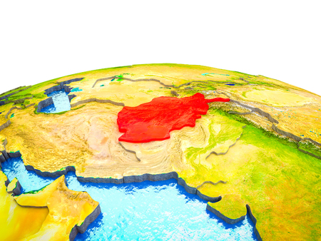 Afghanistan on 3D Earth with visible countries and blue oceans with waves. 3D illustration. Stock Photo