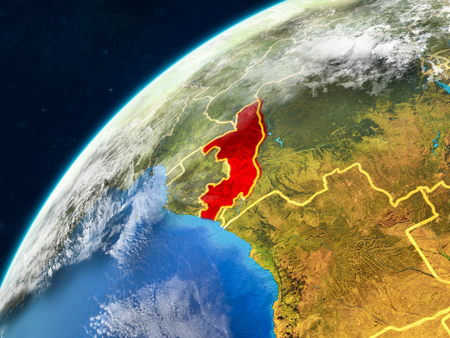 Congo on realistic model of planet Earth with country borders and very detailed planet surface and clouds. 3D illustration. Standard-Bild - 111507752