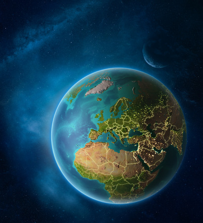 Planet Earth with highlighted Montenegro in space with Moon and Milky Way. Visible city lights and country borders. 3D illustration.