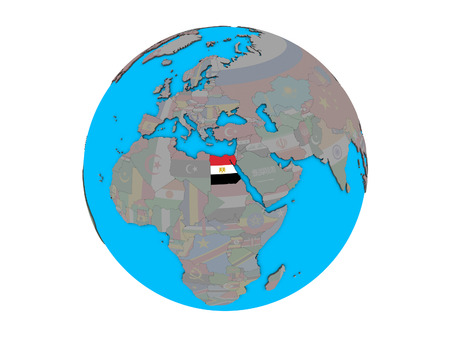 Egypt with embedded national flag on blue political 3D globe. 3D illustration isolated on white background.