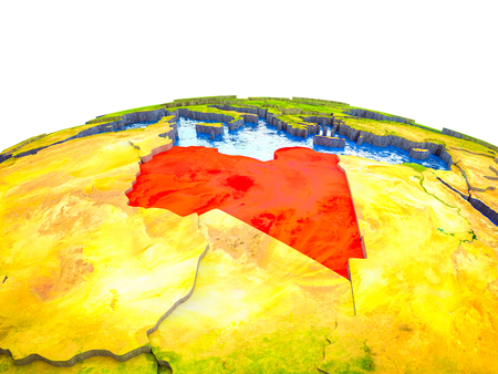 Libya on 3D Earth with visible countries and blue oceans with waves. 3D illustration.
