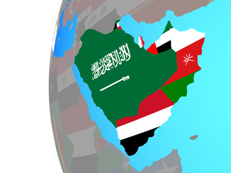 Arabia with embedded national flags on blue political globe. 3D illustration.