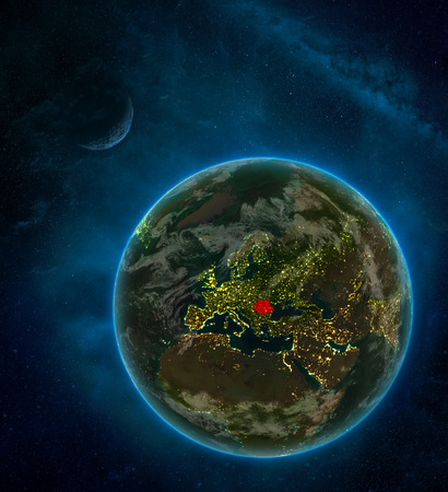 Romania from space on Earth at night surrounded by space with Moon and Milky Way. Detailed planet with city lights and clouds. 3D illustration.