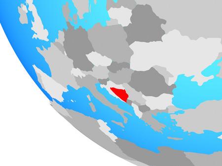 Bosnia and Herzegovina on simple globe. 3D illustration.