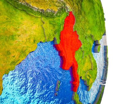 Myanmar on 3D model of Earth with divided countries and blue oceans. 3D illustration. Imagens