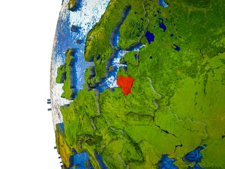 Lithuania highlighted on 3D Earth with visible countries and watery oceans. 3D illustration. Stock Photo