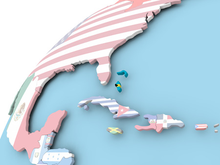 Map of Bahamas on political globe with embedded flag. 3D illustration.