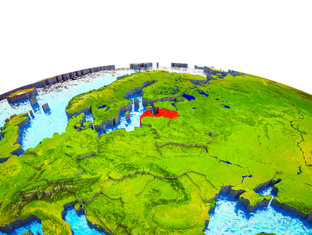 Latvia on 3D Earth with visible countries and blue oceans with waves. 3D illustration.