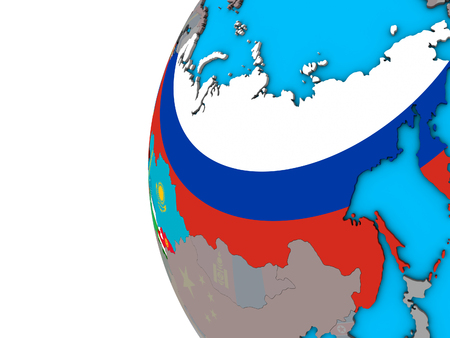 Former Soviet Union with national flags on blue political 3D globe. 3D illustration.
