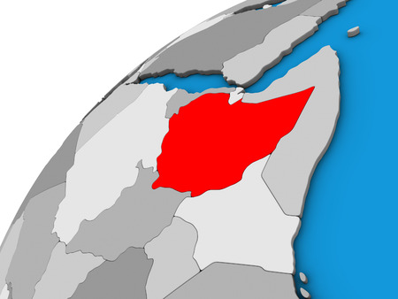 Ethiopia on 3D globe. 3D illustration. Banque d'images - 111599492