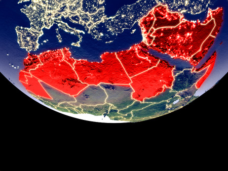 Satellite view of Arab League from space at night. Beautifully detailed plastic planet surface with visible city lights. 3D illustration.