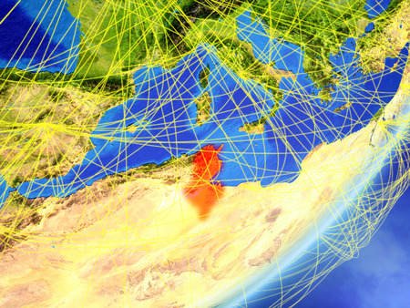 Tunisia on model of planet Earth with network at night. Concept of new technology, communication and travel. 3D illustration.