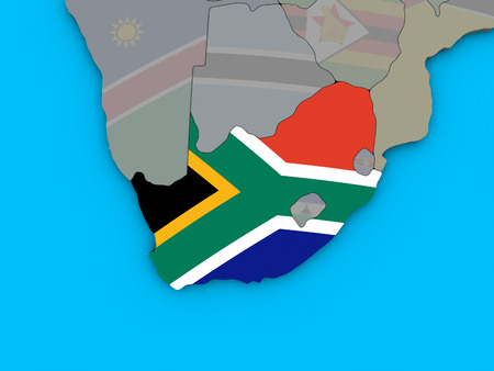 South Africa with embedded national flag on blue political 3D globe. 3D illustration.