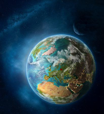 Lithuania from space on Earth surrounded by space with Moon and Milky Way. Detailed planet surface with city lights and clouds. 3D illustration.
